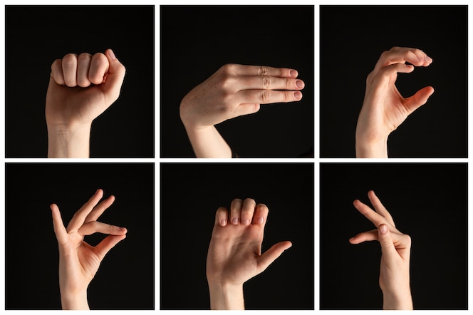 Collection of sign language hand gestures