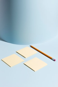 Collection of sticky notes and pencil on the desk