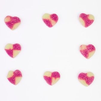 Collection of sweet candies in form of hearts