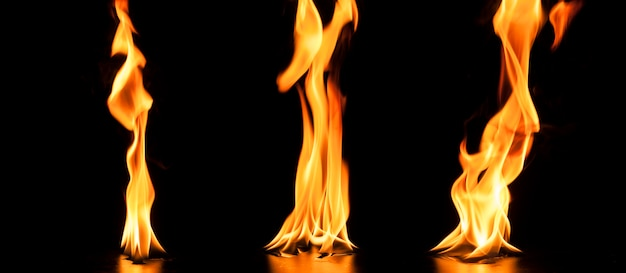 Collection of three flames