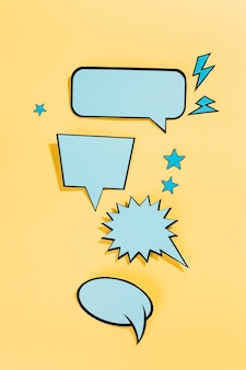 Collection of trendy blue speech bubbles