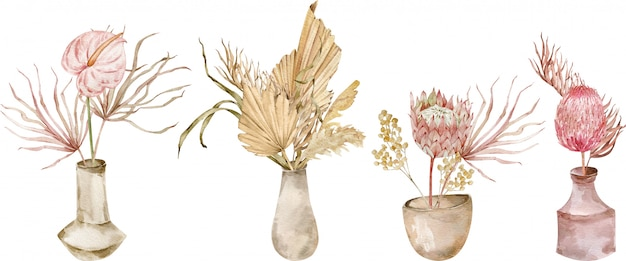 Collection of tropical bouquests in ceramic vases. watercolor set of exotic compositions. boho wedding.
