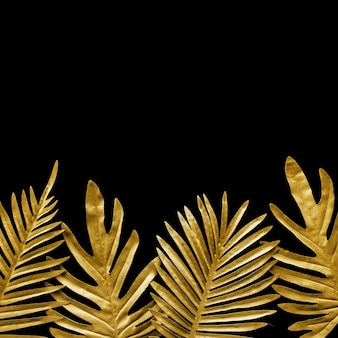 Collection of tropical leaves on black, flat lay