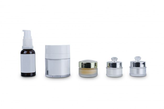 Collection of various beauty cosmetic hygiene containers plastic bottle with body moisturising isolated on white