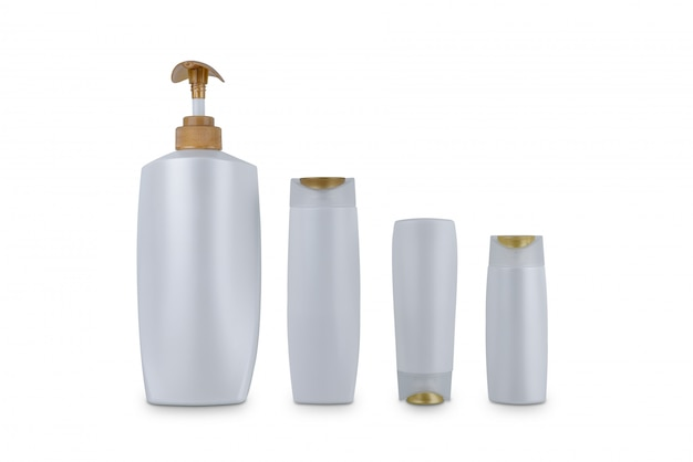 Collection of various beauty cosmetic hygiene containers plastic bottle with body moisturising isolated