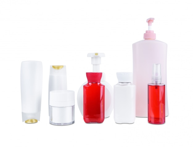 Collection of various beauty cosmetic hygiene containers plastic bottle with body moisturising