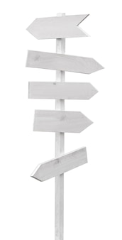 Collection of various empty wooden sign on white