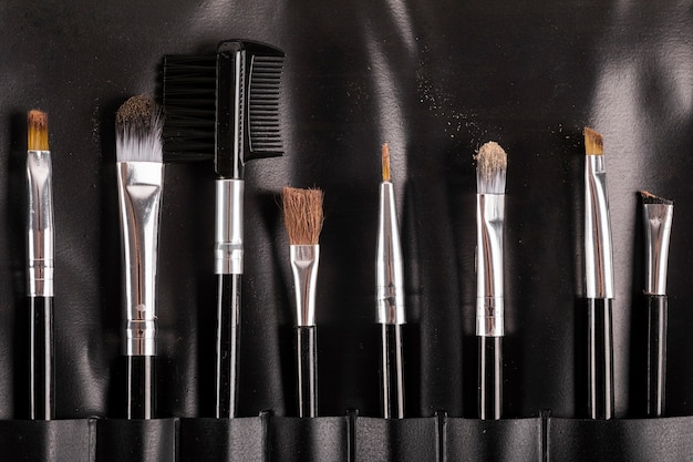 Collection of various makeup brushes