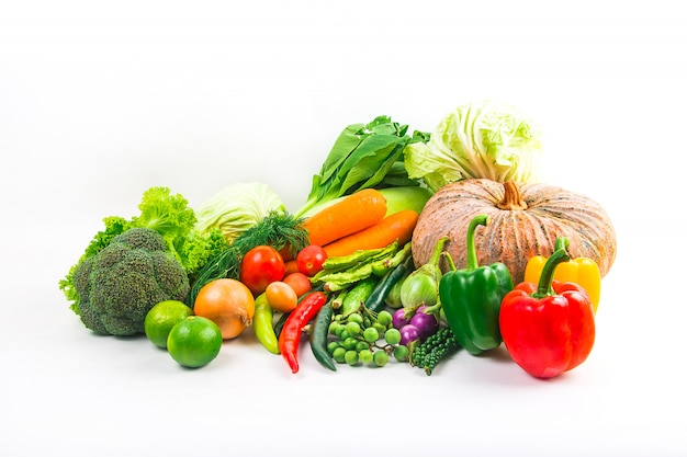 Collection vegetables isolated white background