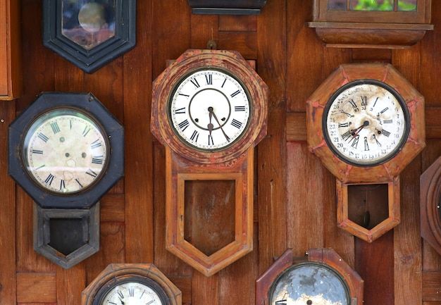 Collection of vintage clocks background
