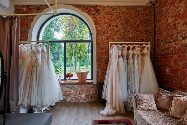 Collection of wedding dresses in the shop
