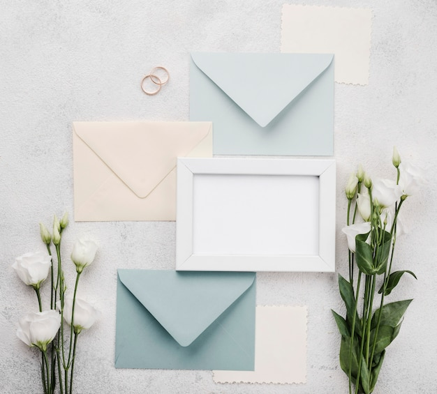 Collection of wedding invitation envelopes with flowers