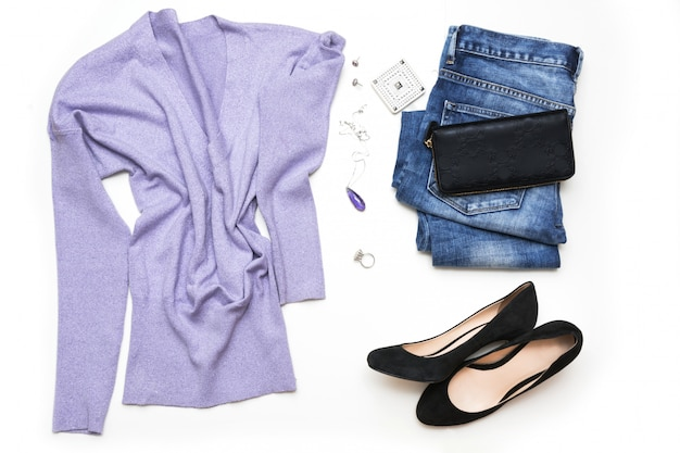 Collection of women's look with ultraviolet accessories for romantic time.
