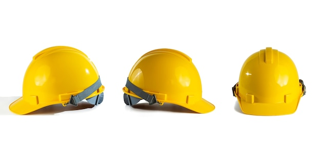 Коллекция желтая защитная шляпа, изолированные на белом фоне
