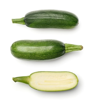 Collection of zucchini isolated on white background