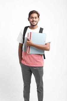 College boy holding file in hand