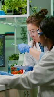 Collegues checking medical expertise on computer researching for gmo meat sample. scientists womens working on plant-blased beef substitute in biology lab researching modified genetically food