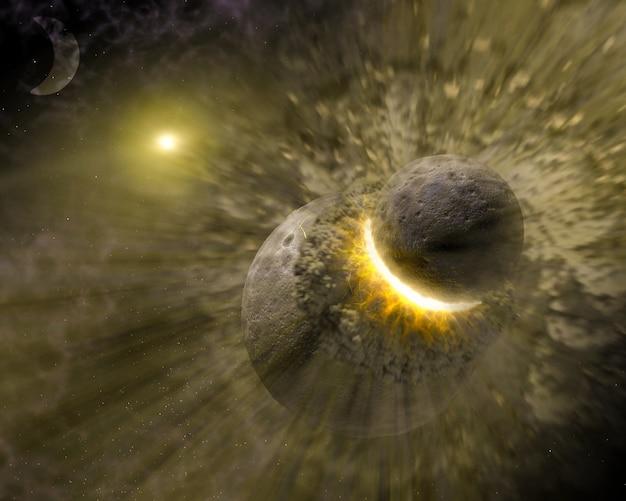 大きな小惑星と惑星の衝突