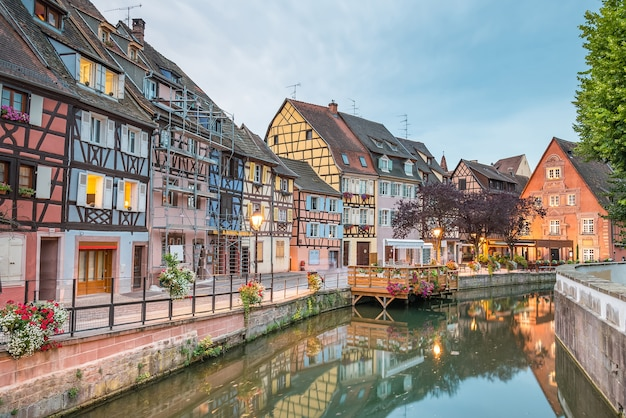 Colmar, petit venice, water canal and traditional colorful houses