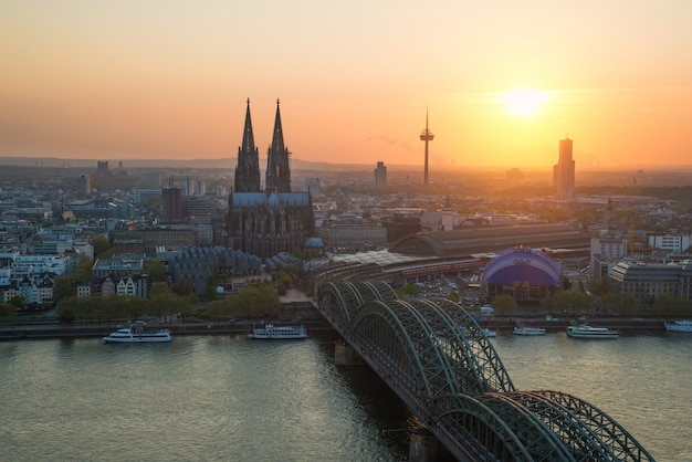 Cologne cathedral along side the hohenzollern bridge in germany, europe