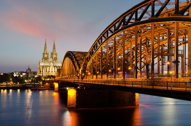 Cologne cathedral with rhine river and hohenzollern