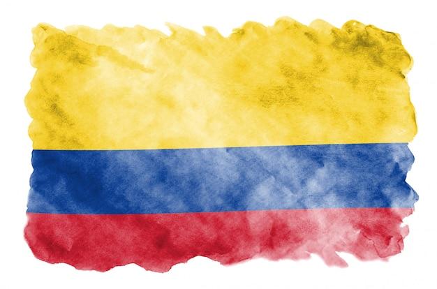 콜롬비아 국기는 흰색에 고립 된 액체 수채화 스타일로 묘사되어 있습니다