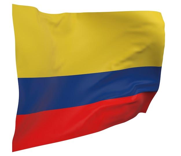 Флаг колумбии изолирован. размахивая знаменем. государственный флаг колумбии
