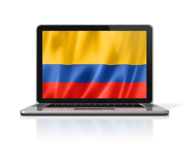 Colombia flag on laptop screen isolated on white. 3d illustration render.