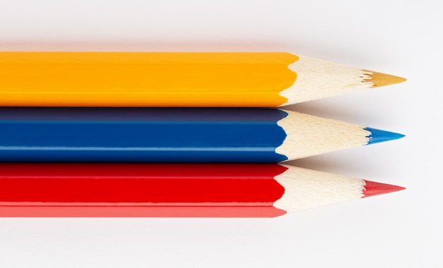 Colombia flag made of colorful wooden pencils