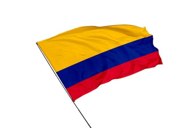 白い背景の上のコロンビアの旗