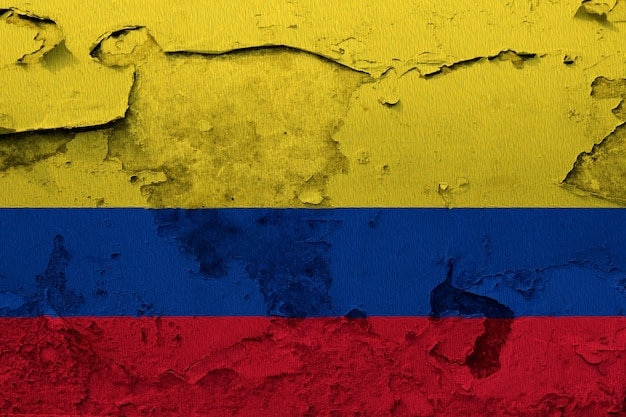 Colombia flag painted on grunge cracked wall