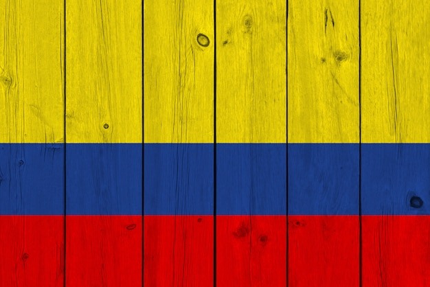 Colombia flag painted on old wood plank