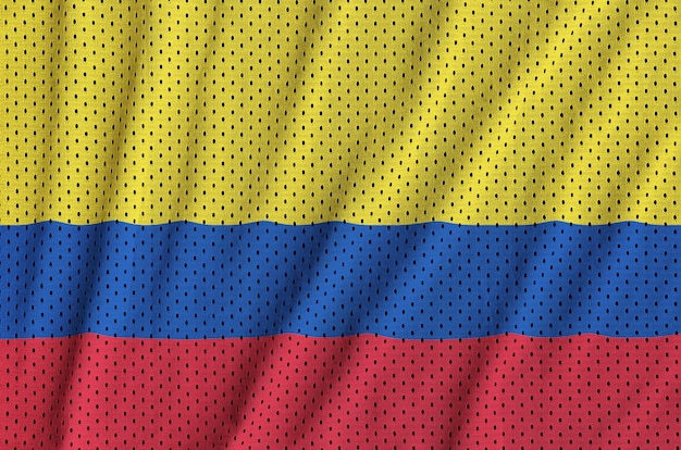 Colombia flag printed on a polyester nylon sportswear mesh fabric