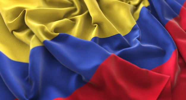 Colombia flag ruffled beautifully waving macro close-up shot