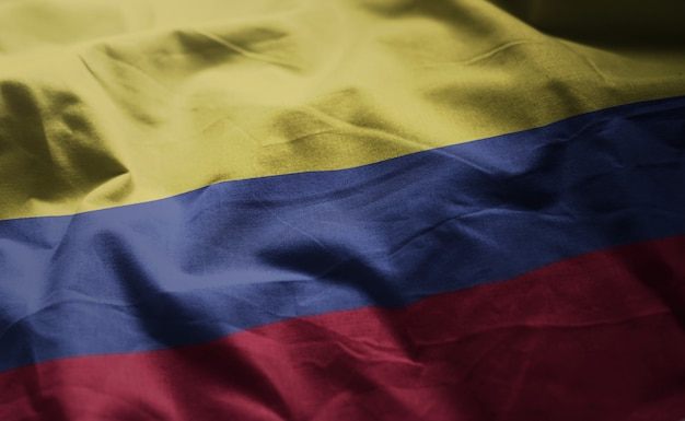 Colombia flag rumpled close up