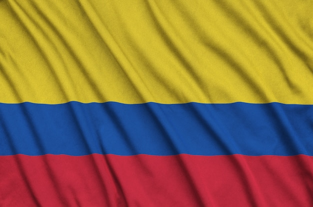Colombia flag with many folds.