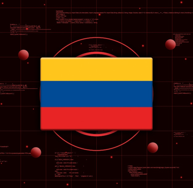 Colombia flag with realistic technology elements, 3d rendering