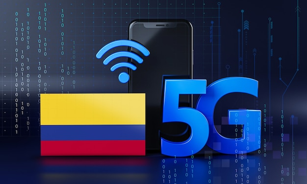Colombia ready for 5g connection concept. 3d rendering smartphone technology background