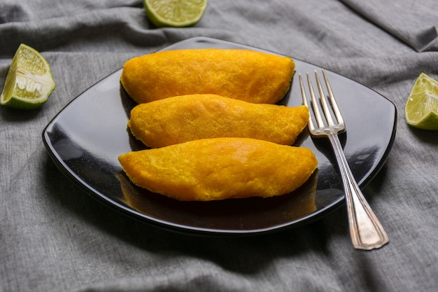 Colombian empanadas, made of meat and fried in oil.