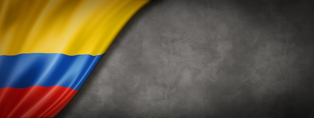 Colombian flag on concrete wall banner