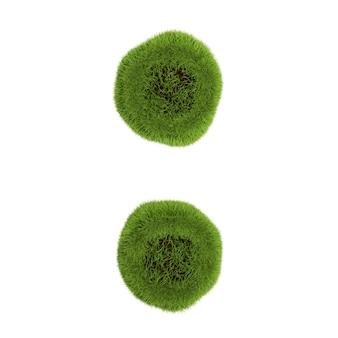 白で隔離された緑の葉で作られたコロン、自然の概念-シンボルの3dイラスト。
