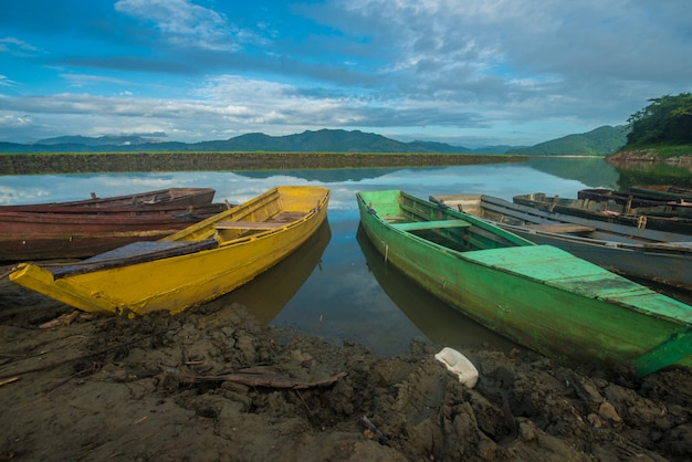 Color boats in the lake