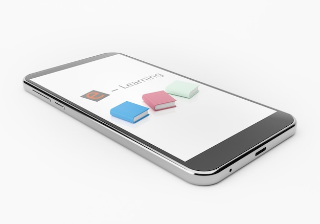 Color books and smart phone, online school concept 3d rendering