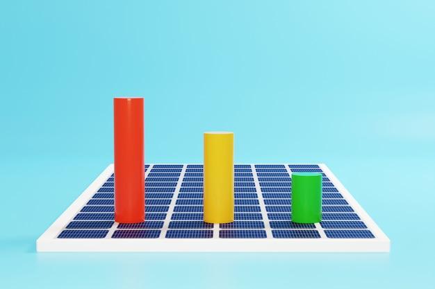 太陽電池パネルのカラービジネスグラフ。