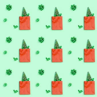 Color candy creative seamless pattern for new year or christmas. lollipops shaped like christmas tree