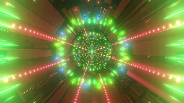 Color changing 4k uhd space tunnel 3d illustration