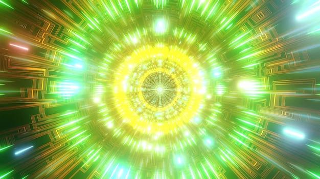 色が変わる空間粒子の3dイラスト