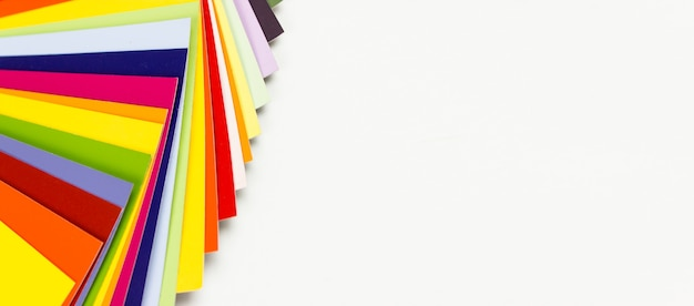 Color chart guide on white background, colored catalog.