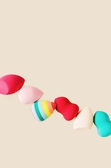 컬러 화장품 뷰티 블렌더 스폰지 레드 핑크 레인보우 컬러 스폰지 다른 모양