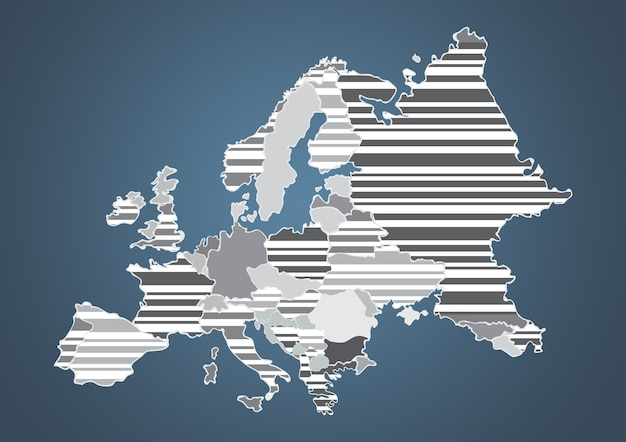 Color country map of europe in gray color